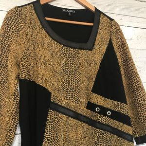 Picadilly 3/4 sleeve gold and black top S